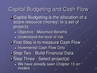Capital Budgeting and Cash Flow