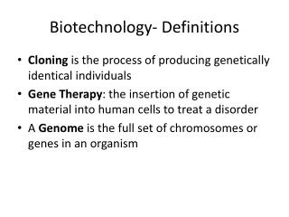 Biotechnology- Definitions