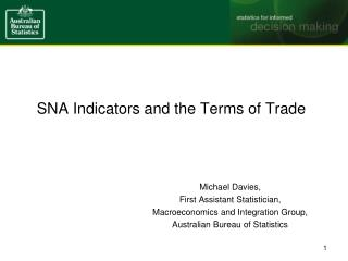 SNA Indicators and the Terms of Trade