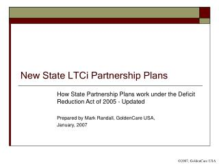 New State LTCi Partnership Plans