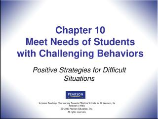 Chapter 10  Meet Needs of Students with Challenging Behaviors