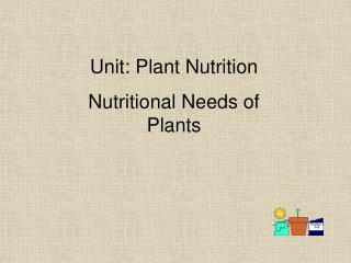 Unit: Plant Nutrition Nutritional Needs of Plants