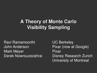 A Theory of Monte Carlo  Visibility Sampling