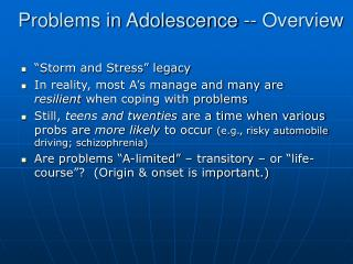 Problems in Adolescence -- Overview