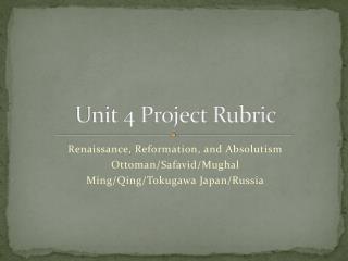 Unit 4 Project Rubric