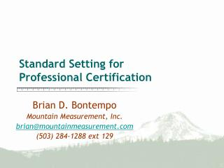 Standard Setting for Professional Certification