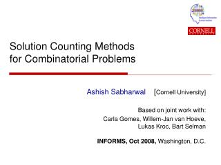 Solution Counting Methods for Combinatorial Problems