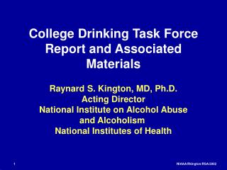 College Drinking Task Force Report and Associated Materials
