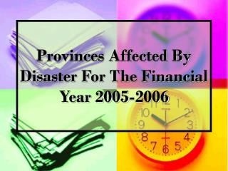 Provinces Affected By Disaster For The Financial Year 2005-2006