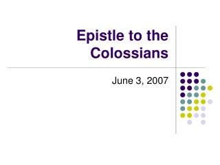 Epistle to the Colossians
