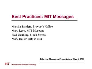 Best Practices: MIT Messages