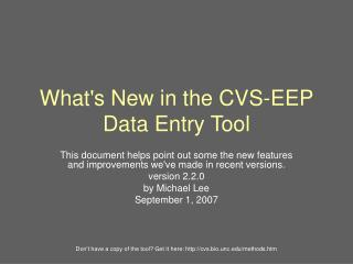 What's New in the CVS-EEP Data Entry Tool