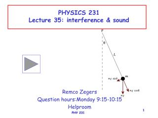 PHYSICS 231 Lecture 35: interference & sound