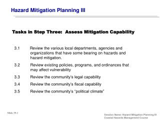 Hazard Mitigation Planning III