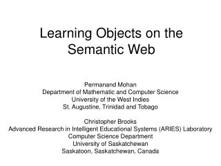 Learning Objects on the Semantic Web