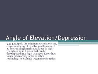 Angle of Elevation/Depression
