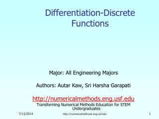 Differentiation-Discrete Functions