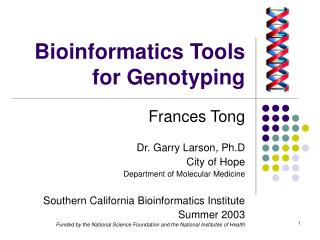 Bioinformatics Tools for Genotyping