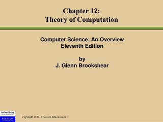 Chapter 12: Theory of Computation