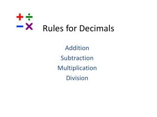 Rules for Decimals