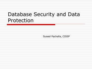 Database Security and Data Protection