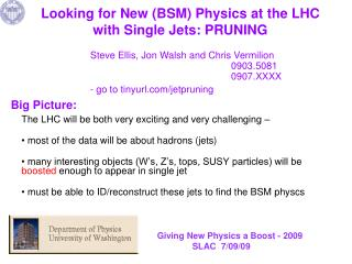 Looking for New (BSM) Physics at  the  LHC with Single Jets: PRUNING