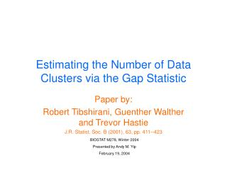 Estimating the Number of Data Clusters via the Gap Statistic