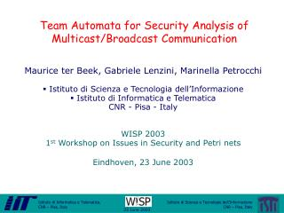 Team Automata for Security Analysis of Multicast/Broadcast Communication
