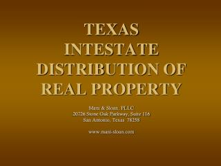 TEXAS INTESTATE DISTRIBUTION OF REAL PROPERTY