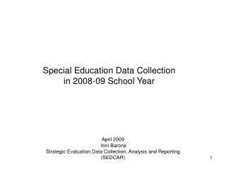 Special Education Data Collection in 2008-09 School Year