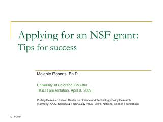 Applying for an NSF grant: Tips for success