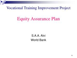 Vocational Training Improvement Project Equity Assurance Plan