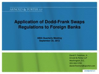 Application of Dodd-Frank Swaps Regulations to Foreign Banks