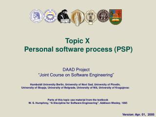 Topic X  Personal software process (PSP)