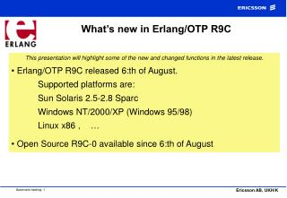 What's new in Erlang/OTP R9C