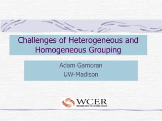Challenges of Heterogeneous and Homogeneous Grouping