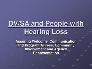 DV/SA and People with Hearing Loss