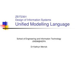 ZEIT2301 Design of Information Systems Unified Modelling Language