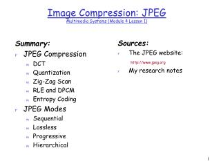 Image Compression: JPEG  Multimedia Systems (Module 4 Lesson 1)