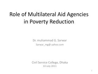 Role of Multilateral Aid Agencies in Poverty Reduction
