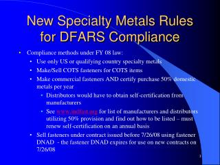 New Specialty Metals Rules for DFARS Compliance