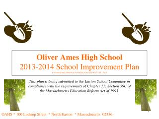 Oliver Ames High School 2013-2014 School Improvement Plan Presented and Submitted by OAHS Principal Wesley H.  Paul