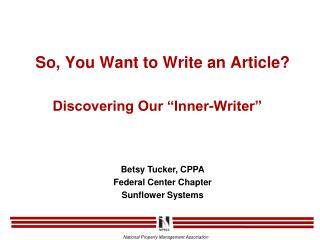 So, You Want to Write an Article?