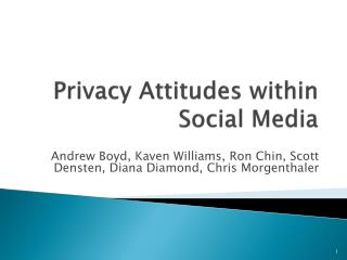 Privacy Attitudes within Social Media