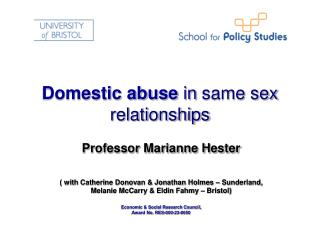 Domestic abuse  in same sex relationships