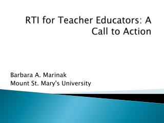 RTI for Teacher Educators: A Call to Action