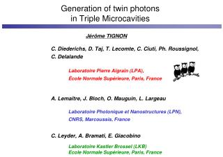 Generation of twin photons in Triple Microcavities
