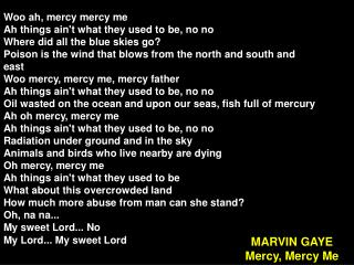 MARVIN GAYE Mercy, Mercy Me