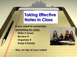 Taking Effective Notes in Class