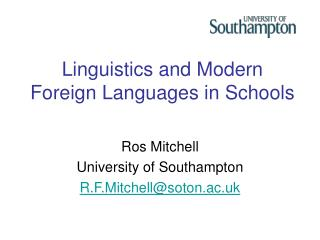Linguistics and Modern Foreign Languages in Schools